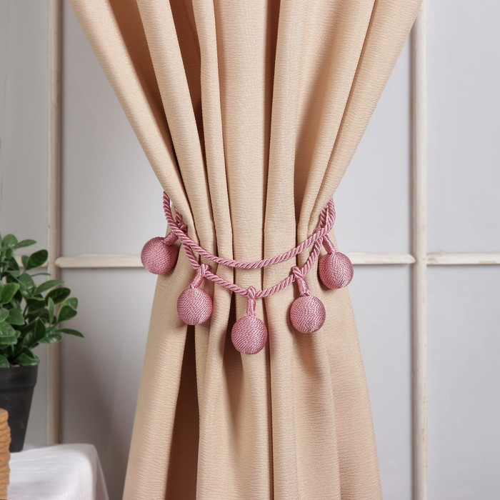 Кисть для штор «Шарлин», 75 ± 1 см, цвет розовый