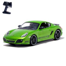 Машина радиоуправляемая Porsche Cayman R, масштаб 1:16, работает от аккумулятора, световые эффекты, цвет зеленый