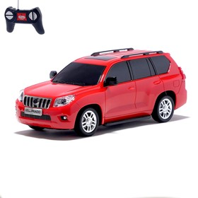 Машина радиоуправляемая Toyota Land Cruiser Prado, масштаб 1:24, работает от батареек, свет, цвет красный