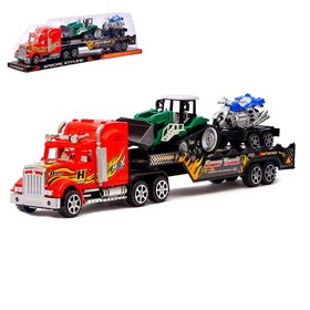 Грузовик инерционный «Трейлер», с трактором и мотоциклом, цвета МИКС