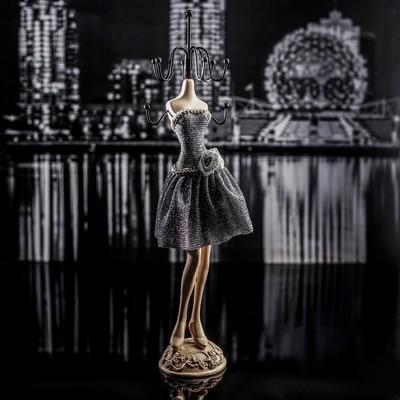 """Подставка для украшений """"Силуэт девушки в платье"""" h25,5, цвет серебристо-чёрный"""