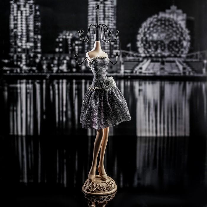 """Подставка для украшений """"Силуэт девушки в платье"""", h=25,5 см, цвет серебристо-чёрный"""