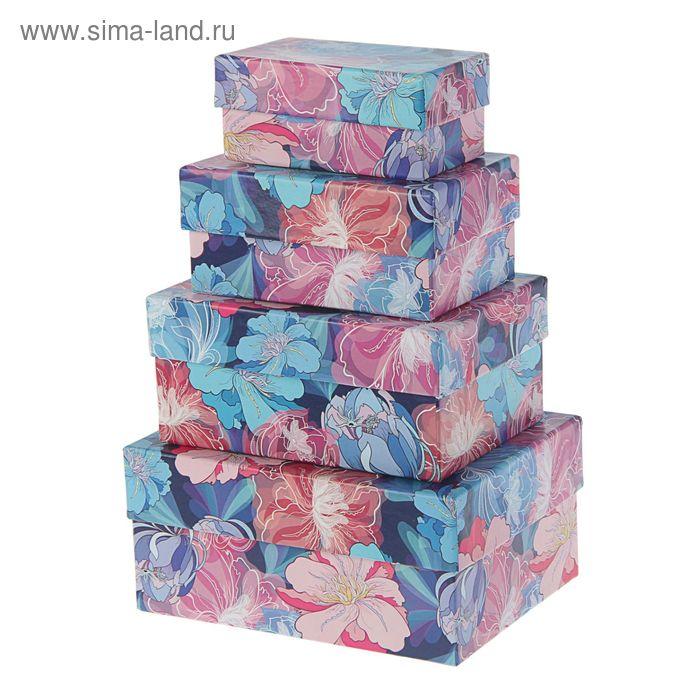 """Набор коробок 4в1 """"Цветы №3"""" 15 х 11 х 7 - 9 х 5 х 4 см"""