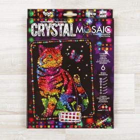 Набор для создания мозаики «Кот и бабочка» CRYSTAL MOSAIC, на тёмном фоне
