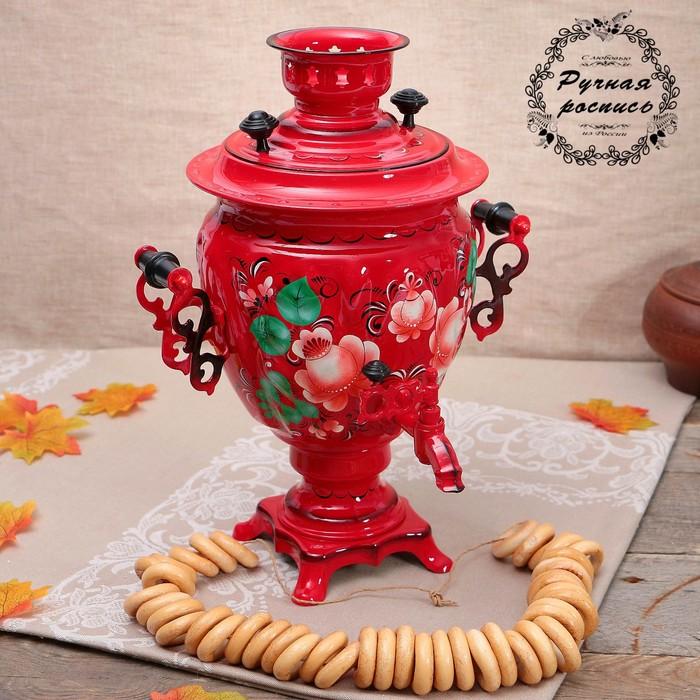 Самовар «Цветы на красном», жёлудь, 3 л, электрический