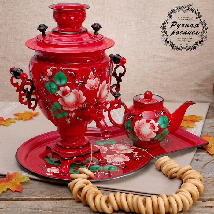 Набор «Цветы на красном», жёлудь, 3 предмета, самовар 3 л, заварочный чайник 0,7 л, поднос