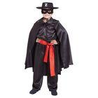 """Карнавальный костюм """"Зорро чёрный"""", шляпа, маска, чёрная рубашка, плащ, пояс, штаны, р-р 28, рост 98-104 см"""