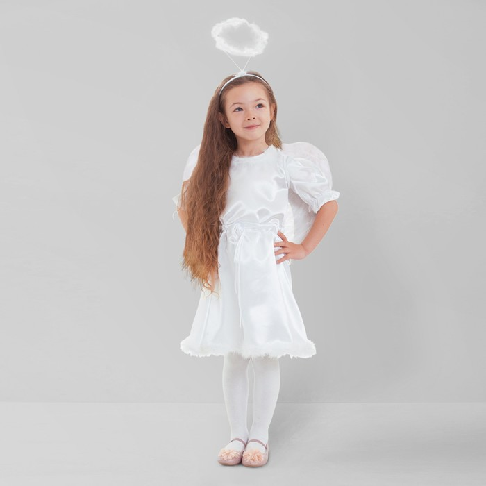 """Карнавальный костюм """"Ангел"""", платье с кулисой, нимб, крылья, р-р 28, рост 98-104 см"""