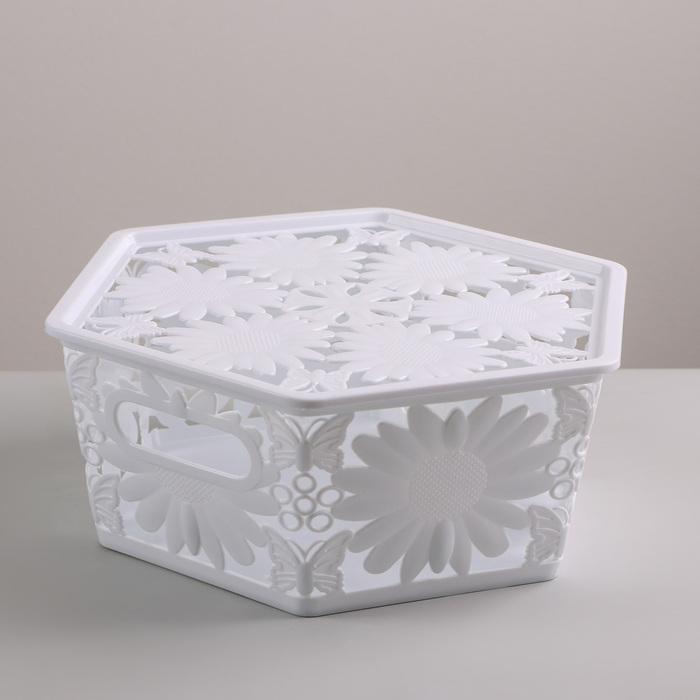 Корзина для хранения с крышкой «Подсолнухи», 27×23×10 см, цвет МИКС - фото 308334417