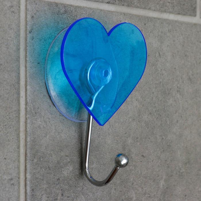 Крючок на вакуумной присоске «Сердце», цвет МИКС