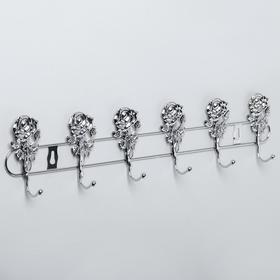 Вешалка настенная на 6 крючков Доляна «Розы», 34×4×9 см, цвет серебро