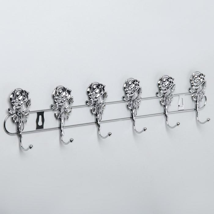 Вешалка настенная на 6 крючков «Розы», 34×4×9 см, цвет серебро - фото 4641494