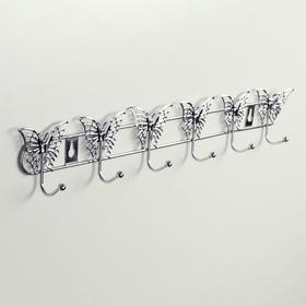 Вешалка настенная на 6 крючков «Бабочки», 34,5×3×6,5 см, цвет серебро