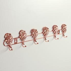 Вешалка настенная на 6 крючков Доляна «Розы», 34×4×9 см, цвет золото