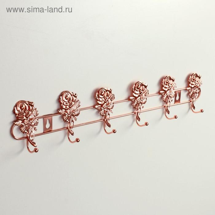 Wall hanger, 6 hooks 42×3×9 cm Roses, the color of gold