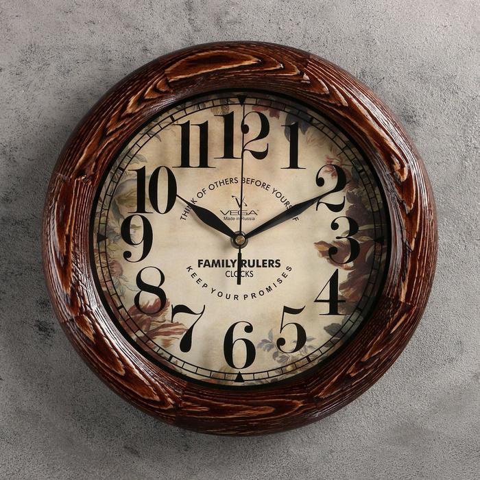 """Часы настенные, серия: Интерьер, """"Элегия"""", деревянный обод, 30х30 см"""
