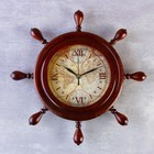 """Часы настенные штурвал """"Карта"""", деревянный обод, 34х34 см"""