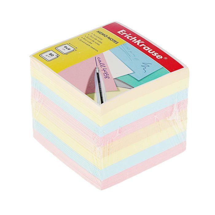 Блок бумаги для записей Erich Krause, 9 х 9 х 9 см, цветной, плотность 80 г/м2 - фото 1731553