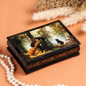 Шкатулка «Мишки в лесу», 10×14 см, лаковая миниатюра