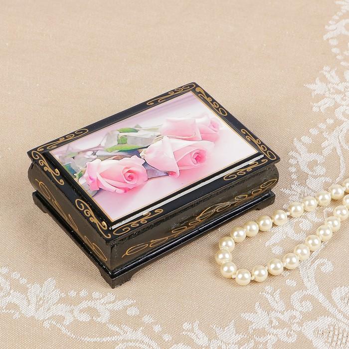 Шкатулка «Розовые розы», 8×10 см, лаковая миниатюра - фото 797835871