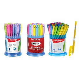 Ручка шариковая 0.7 мм, Berlingo Blitz, чернила синие, микс