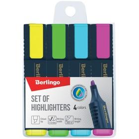 Набор маркеров-текстовыделителей 4 цвета, Berlingo 5.0 мм, европодвес