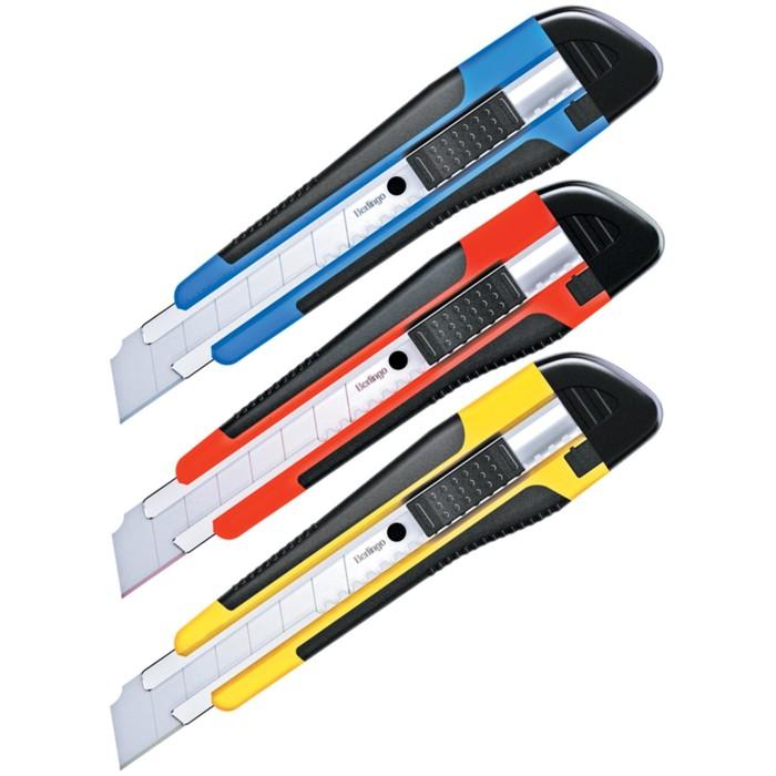 Нож канцелярский 18 мм Comfort, auto-lock, металлические направляющие, мягкие вставки, 2 запасных лезвия, европодвес