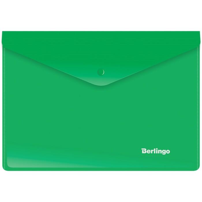 Папка-конверт на кнопке A5+, 180 мкм, зелёная