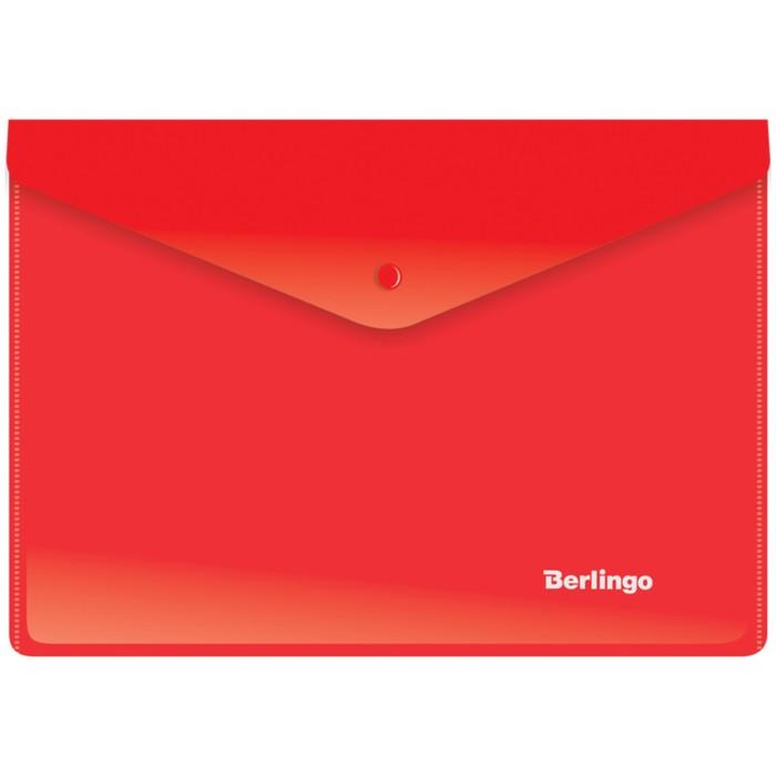 Папка-конверт на кнопке A5+, 180 мкм, красная