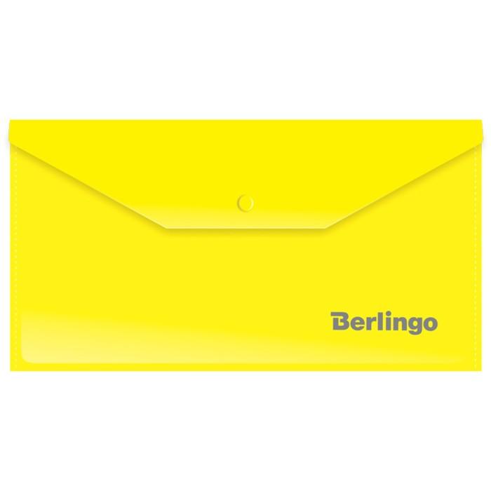 Папка-конверт на кнопке C6, 180 мкм, жёлтая