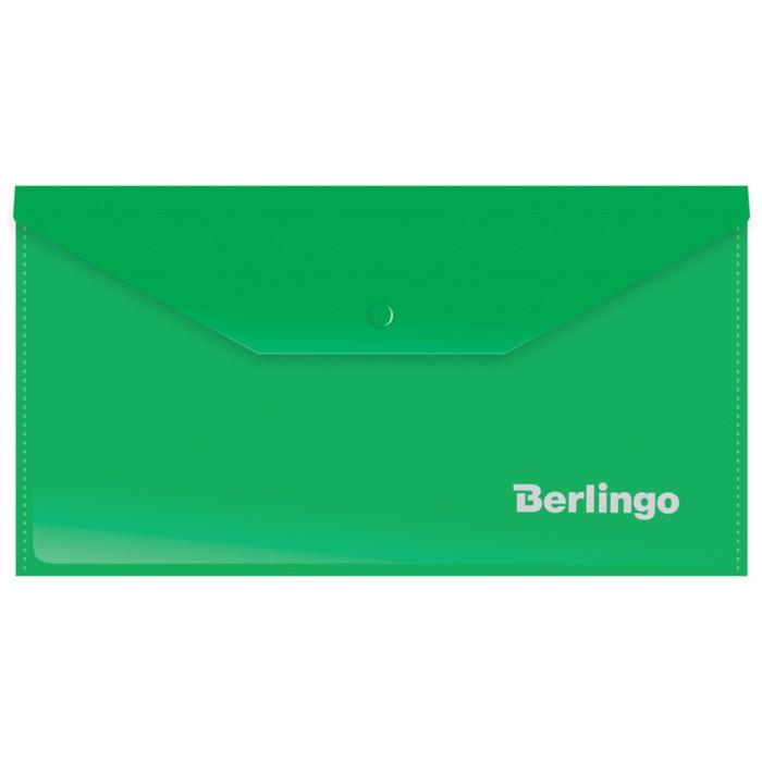 Папка-конверт на кнопке C6, 180 мкм, зелёная