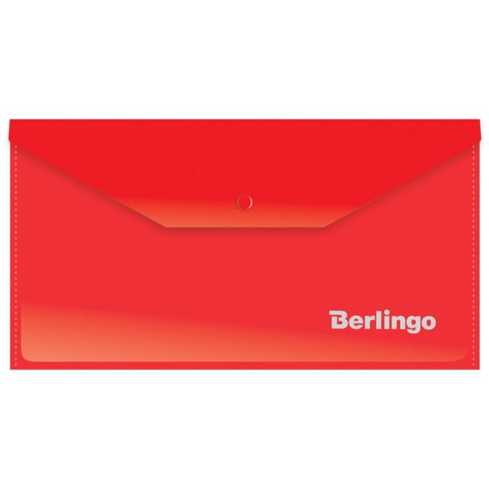 Папка-конверт на кнопке C6, 180 мкм, красная