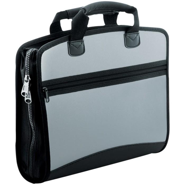 Папка-портфель 4 отделения Silver, 700 мкм, серый металлик