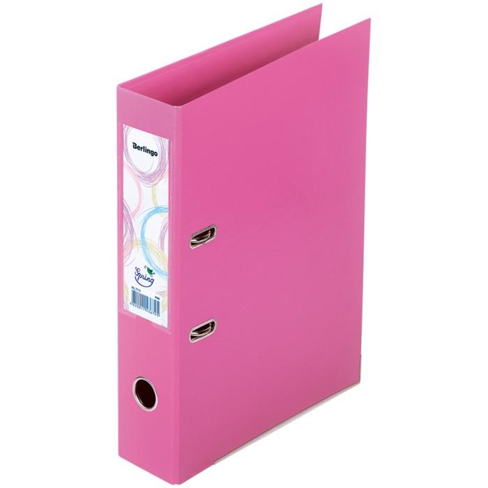 Папка-регистратор 70 мм Spring, бумвинил, двухсторонняя, с карманом, нижний металлический кант, розовая