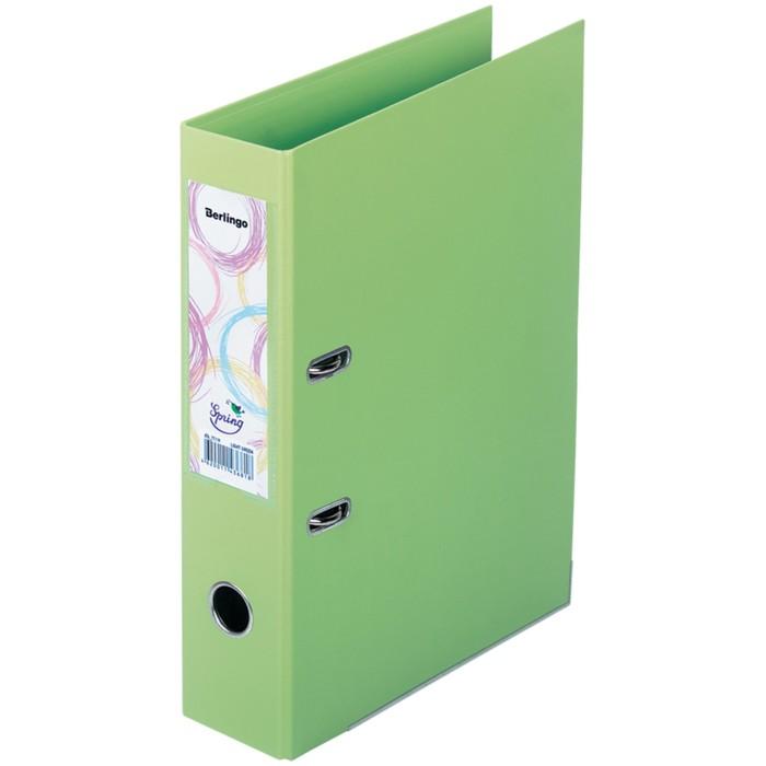 Папка-регистратор 70 мм Spring, бумвинил, двухсторонняя, с карманом, нижний металлический кант, фисташковая