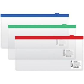 Папка-конверт на молнии Berlingo, 255х130 мм, 110 мкм, прозрачная, микс, для ж/д и авиа билетов Ош