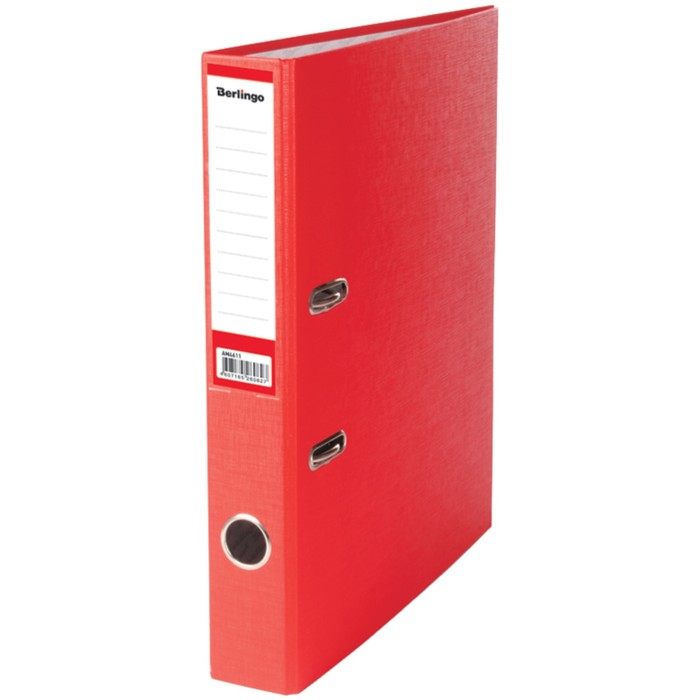 Папка-регистратор 50 мм Berlingo, бумвинил, с карманом на корешке, красная