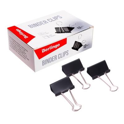 Зажимы для бумаг 41 мм, 12 штук, чёрные