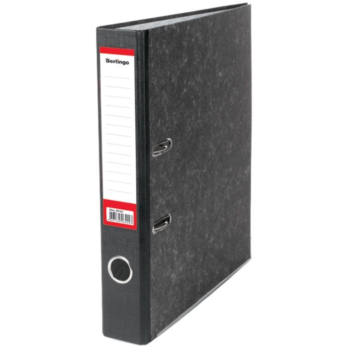 Папка-регистратор 50 мм Berlingo, мрамор, разборный, с карманом на корешке, нижний металлический кант, чёрная