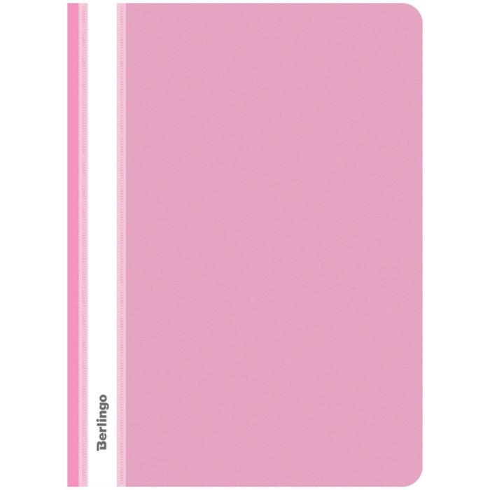 Папка-скоросшиватель А4, 180 мкм Berlingo, розовая, пластиковая, с прозрачным верхом