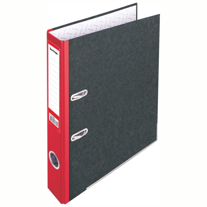 Папка-регистратор 50 мм Berlingo, мрамор, с карманом на корешке, нижний металлический кант, красная