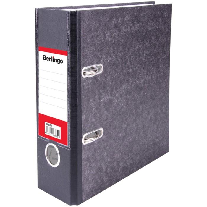 Папка-регистратор А5, 70 мм Berlingo, мрамор, с карманом на корешке, чёрная