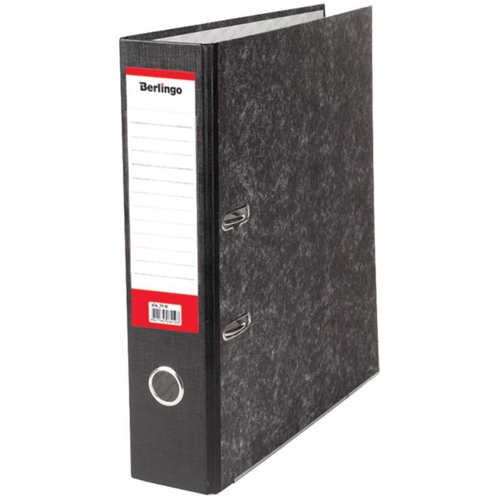Папка-регистратор 70 мм Berlingo, мрамор, разборный, с карманом на корешке, нижний металлический кант, чёрная