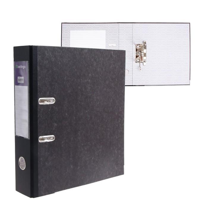 Папка-регистратор 70 мм Berlingo, мрамор, с карманом на корешке, нижний металлический кант, чёрная