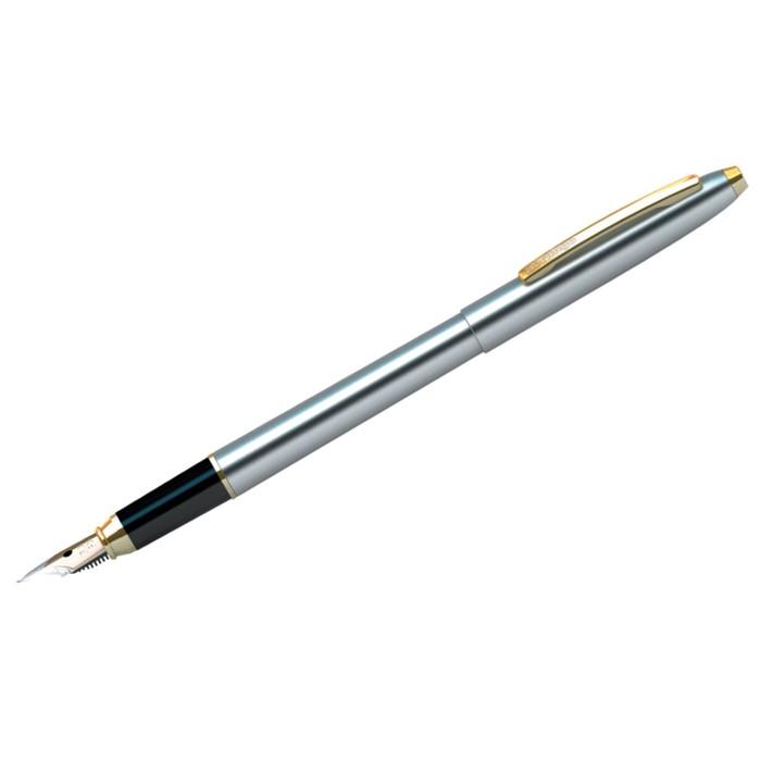 Ручка перьевая Golden Prestige, пишущий узел 0.8 мм, чернила синие, корпус хром/золото, пластиковый футляр