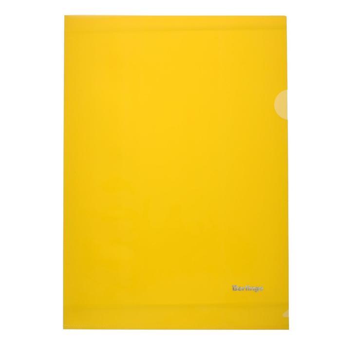 Папка-уголок А4, 180 мкм Berlingo, прозрачная жёлтая
