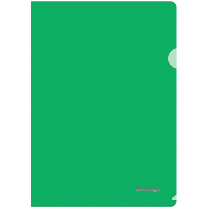 Папка-уголок А4, 180 мкм Berlingo, прозрачная зелёная