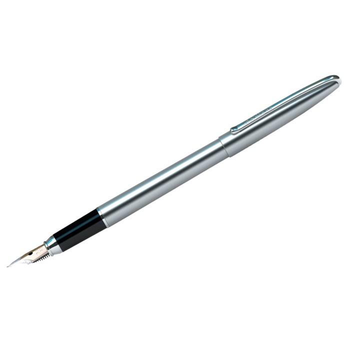 Ручка перьевая Silk Prestige, пишущий узел 0.8 мм, чернила синие, корпус хром, пластиковый футляр