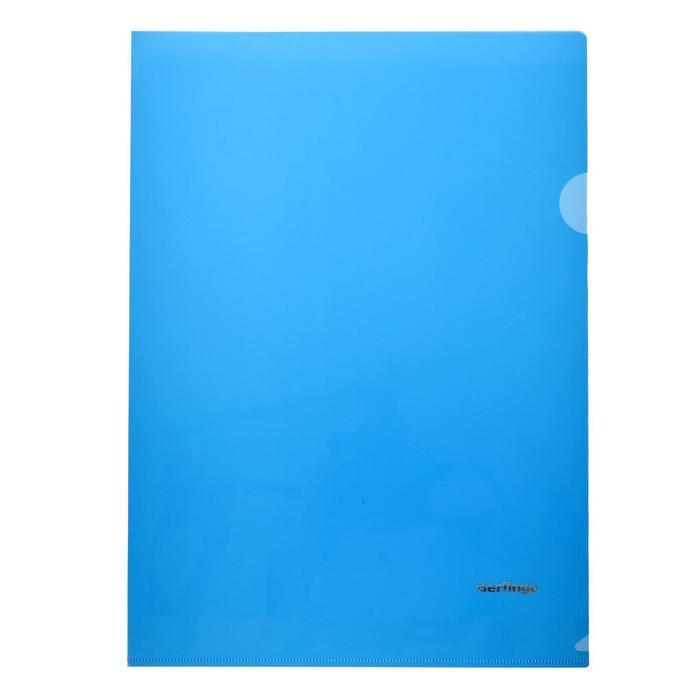 Папка-уголок А4, 180 мкм Berlingo, прозрачная синяя