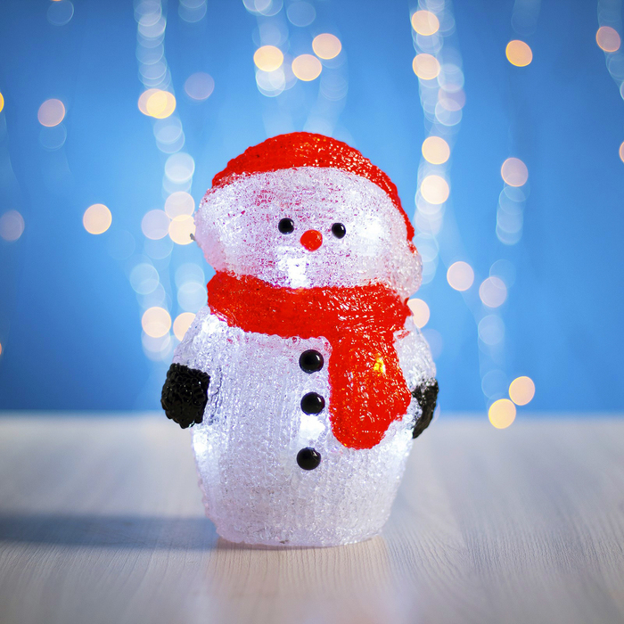 "Фигура акрил. ""Снеговик на батарейках"" 12х16х20 см,(АА*3 шт.не в компл.), 15 LED"
